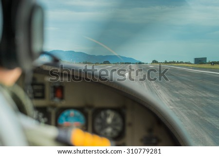 Airport view from the cockpit .  - stock photo