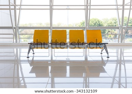 Airport waiting area. - stock photo