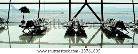 Airport waiting lounge - stock photo