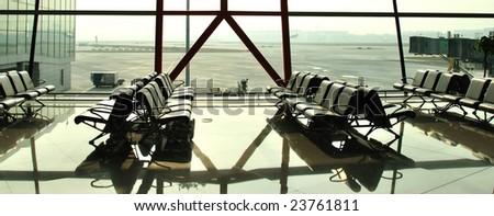 Airport waiting lounge - stock photo
