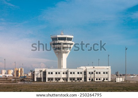 Airport  watchtower - stock photo