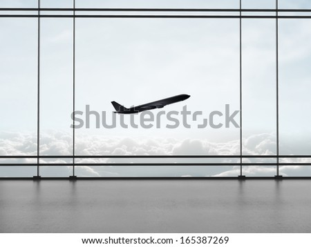 airport with big window and airplane - stock photo