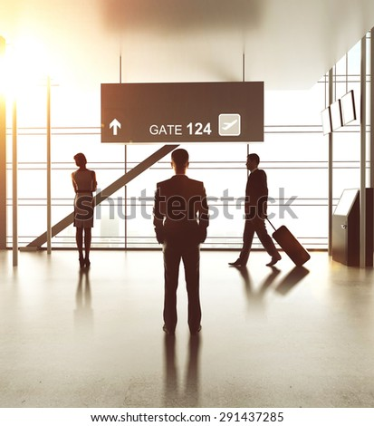 airport with people, close up - stock photo