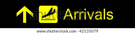 Airport yellow arrivals sign on a black background - stock photo