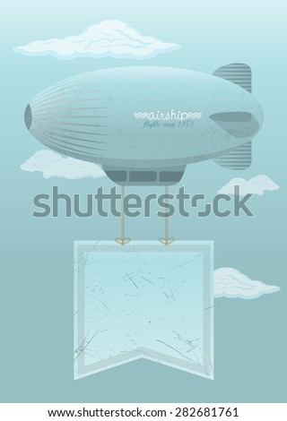 airship against the blue sky, retro poster - stock photo