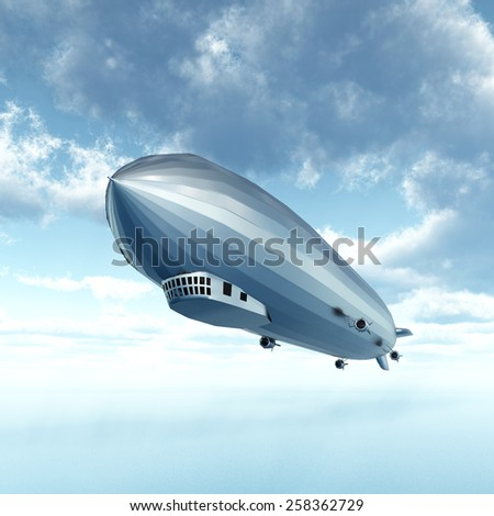 Airship Computer generated 3D illustration - stock photo