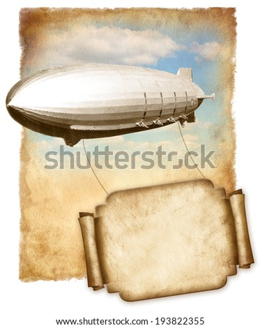Airship flying banner for text over old paper, vintage graphic. - stock photo