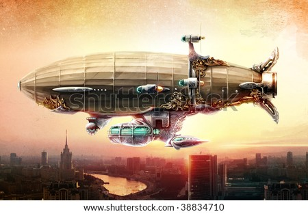 Airship painted in steampunk style in the sky over a city. Concept art.