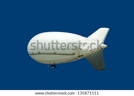 Airship with camera opposite blue sky - stock photo