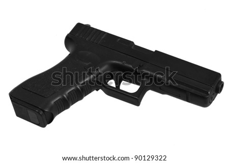 airsof copy Glock automatic 9mm handgun pistol isolated on a white background