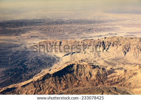 Airview of the desert - stock photo