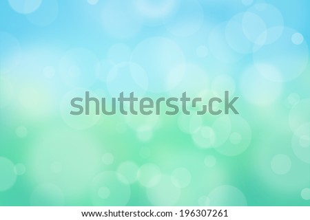 Airy background with bokeh and other lights effect on blue, green, yellow, turquoise background, nature concept - stock photo