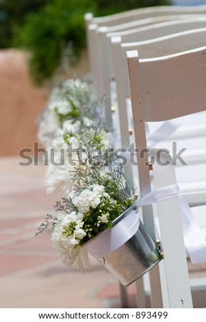 aisle chairs at a wedding - stock photo