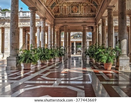 aisle with plants in Montecatini Terme, Tuscany