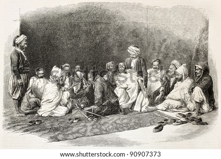Aissawa old illustration: religious and mystical brotherhood founded in Meknes, Morocco. Created by Janet-Lange, published on L'Illustration, Journal Universel, Paris, 1858 - stock photo