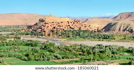 Ait-Ben-Haddou Kasbah in Morocco, Africa. Was built in 11th. UNESCO World Heritage Site. Jesus of Nazareth, The Mummy, Gladiator, Alexander, Prince of Persia and others films have been shot there. - stock photo
