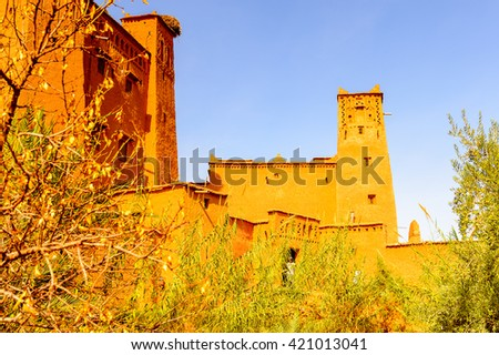Ait Benhaddou, a fortified city, the former caravan way from Sahara to Marrakech. UNESCO World Heritage, Morocco - stock photo