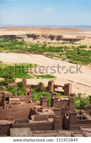 Ait benhaddou fortified city along the caravan route in Morocco - stock photo