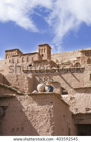 Ait Benhaddou, fortified city on the route between the Sahara Desert and Marrakech in Morocco, Africa