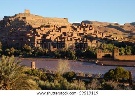 Ait Benhaddou Kasbah panorama - stock photo