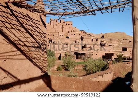 Ait Benhaddou Kasbah terrace - stock photo