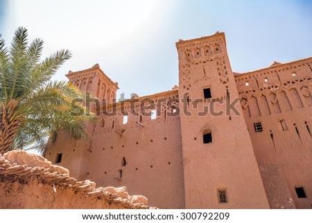 Ait Benhaddou, Morocco: clay buildings - stock photo