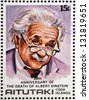 AITUTAKI (ARAURA), CIRCA 1980: stamp printed in Cook Islands in honor of Mathematician Physicist Nobel Prize Winner Albert Einstein, circa 1980 - stock photo