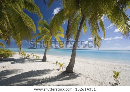 Aitutaki Lagoon in the Cook Islands in the South Pacific. - stock photo