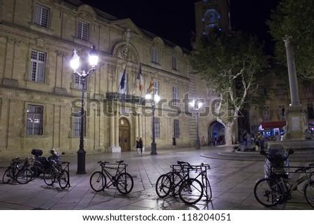 Aix-en-Provence - Hotel de Ville square - stock photo