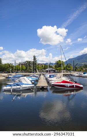Aix-les-Bain,  Savoie department in the Rhône-Alpes region in south-eastern France. Lake  Bourget . - stock photo