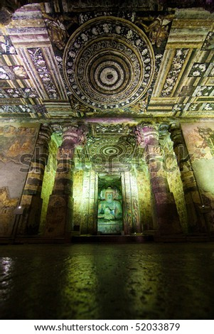 Ajanta cave temple. Part of interior - stock photo