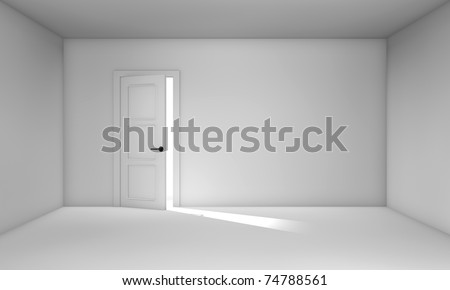 Ajar door in empty white room