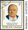 AJMAN - CIRCA 1970: A stamp printed in Ajman shows Winston Churchill (1874-1965), circa 1970 - stock photo