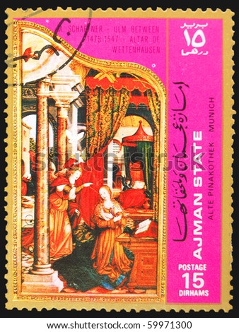 AJMAN - CIRCA 1980s: A stamp printed in Ajman showing painting of Altar of Wettenhausen, circa 1980s