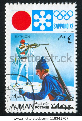 AJMAN - CIRCA 1972: stamp printed by Ajman shows Biathlon, circa 1972