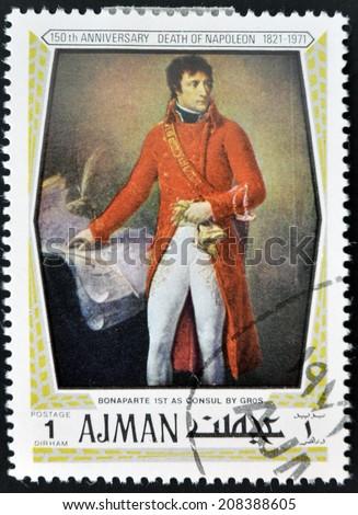 AJMAN - CIRCA 1971: Stamp printed in Ajamn shows Napoleon Bonaparte by Gros, circa 1971 - stock photo