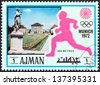 """AJMAN EMIRATE - CIRCA 1972: A stamp printed in United Arab Emirates from the """"Summer Olympic Games - Munich, West Germany"""" issue shows Nymphenburg Palace and 800m runner, circa 1972. - stock photo"""