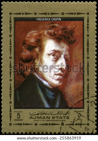 AJMAN STATE - CIRCA 1972: A used Postage Stamp feauturing a portrait of Polish classical composer and pianist Frederic Chopin, circa 1972. - stock photo