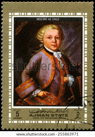 AJMAN STATE - CIRCA 1972: A used postage stamp from Ajman State, featuring a portrait of famous composer Wolfgang Amadeus Mozart as a Child, circa 1972. - stock photo