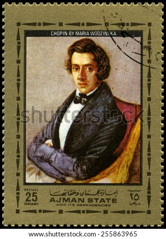 AJMAN STATE - CIRCA 1972: A used postage stamp from Ajman State, featuring a portrait of Polish composer and pianist Frederic Chopin, circa 1972. - stock photo