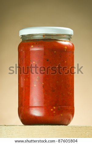 Ajvar, delicious product of roasted red pepper.