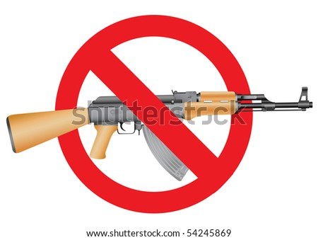 Ak-47 and the interdiction symbol on the white background