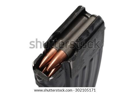 AK 47 gun magazin (short) with ammo - stock photo