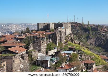 Ak-Kala fortress on the hill Hissar. Ankara. Turkey. - stock photo