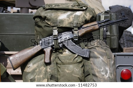 ak47 on rear of sas vehicle - stock photo