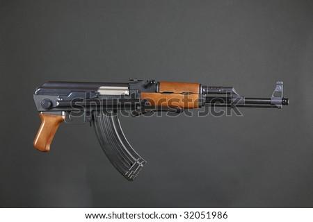 AK47 Rifle on a black background - stock photo