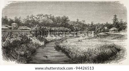 Akabane old view, Japan. Created by De Bar, published on Le Tour du Monde, Paris, 1867 - stock photo