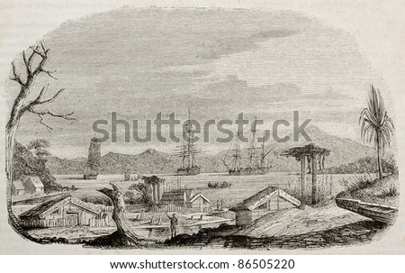 Akaroa bay old view, New Zealand. Created by Lebreton, published on Magasin Pittoresque, Paris, 1843 - stock photo
