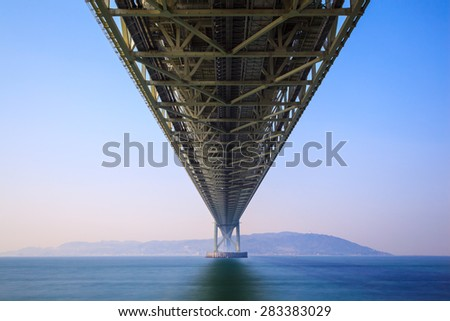 Akashi Kaikyo Bridge the world's longest suspension bridge, Kobe, Japan - stock photo