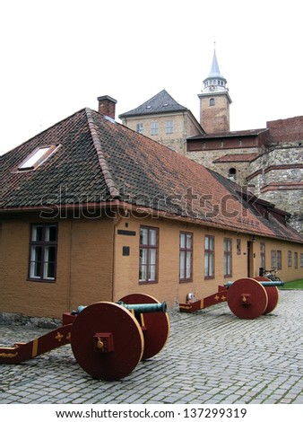 Akershus Castle and Fortress in Oslo, Norway - stock photo